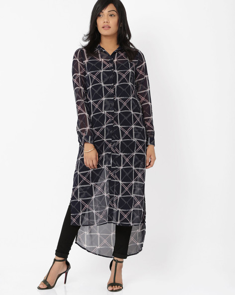 Shirt Dress With High-Low Hem By RIDRESS ( Blue )