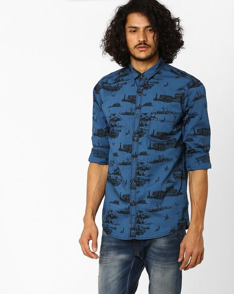 Printed Slim Fit Casual Shirt By SIN ( Blue )
