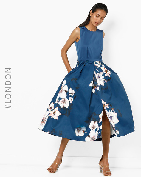 Floral Print A-line Dress By Closet London ( Multi )