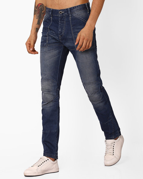 Mid-Washed Skinny Jeans By VOI JEANS ( Darkblue )