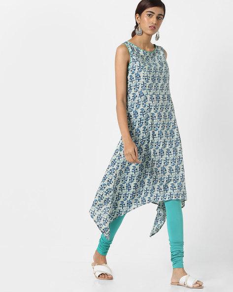 Printed Sleeveless Kurta With Asymmetric Hemline By AJIO ( Indigo )