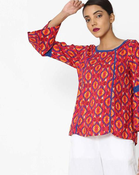 Printed Top With Crochet Insets By Akkriti By Pantaloons ( Pink )
