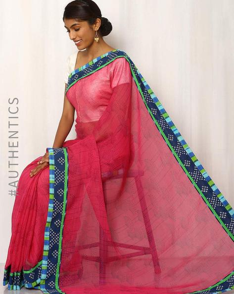 Hand Block Printed Kota Saree With Patch Work By Indie Picks ( Pink )