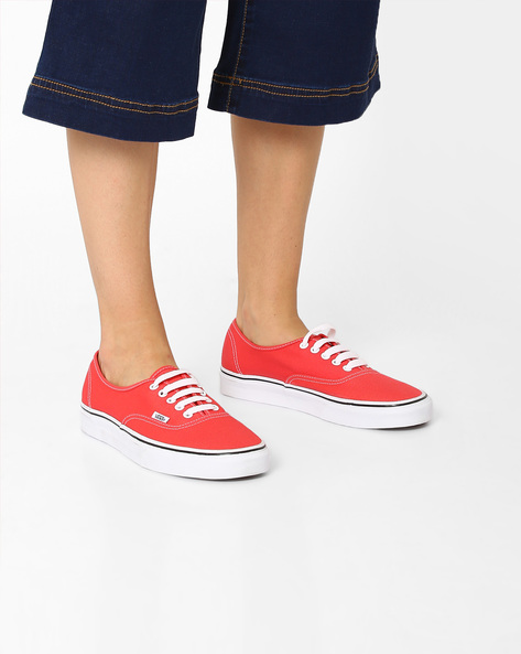 Canvas Lace-Up Shoes By Vans ( Red )