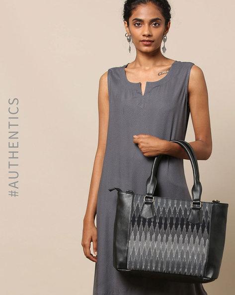 Handloom Ikat Vegan Leather Tote Bag By A BIG INDIAN STORY ( Black )