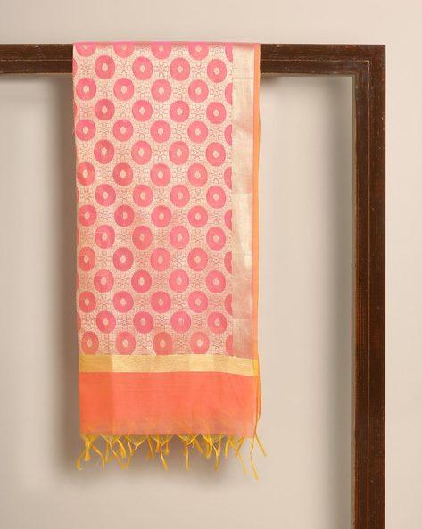 Banarasi Cotton Brocade Dupatta By Banarasi Style ( Pink ) - 460139649001