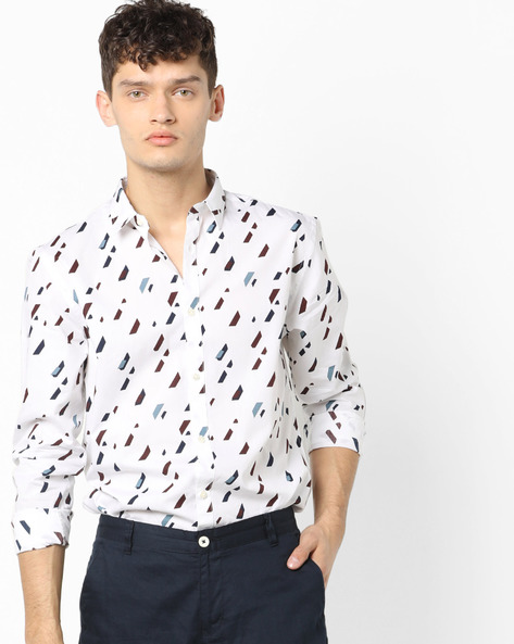 Geometric Print Slim Fit Shirt By Jack & Jones ( White )