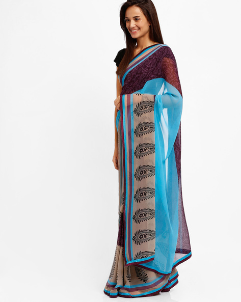 Printed Chiffon Saree By Lookslady ( Blue )