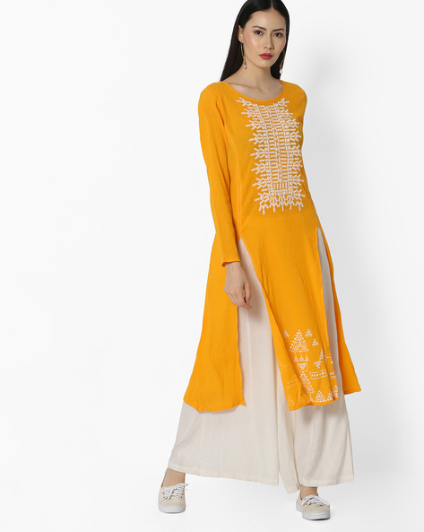 Straight Kurta With Embroidery By Global Desi ( Yellow )