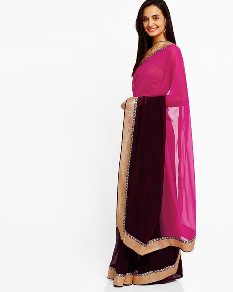 Ombre-Dyed Chiffon Saree By Florence ( Pink ) - 460007384001