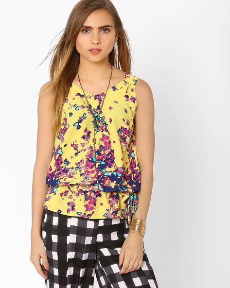 Printed Soft Moss Top By AJIO ( Yellow )