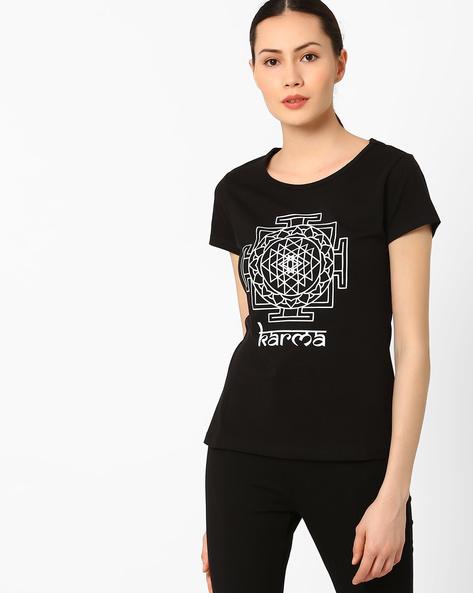 Graphic Print Crew-Neck T-shirt By AJIO ( Black ) - 460039916001