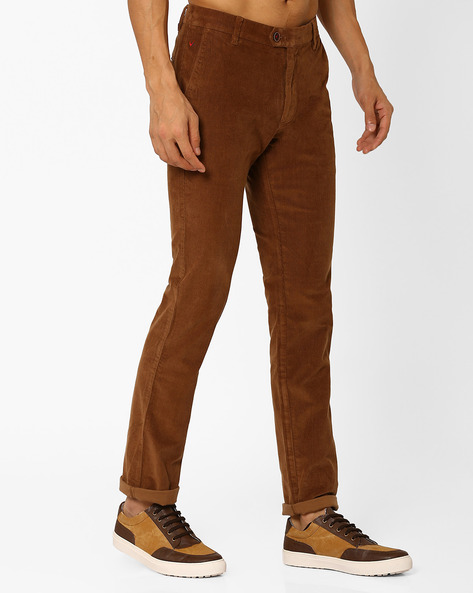 Slim Fit Corduroy Trousers By Wills Lifestyle ( Brown )