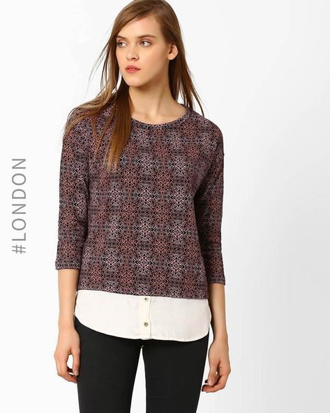 Printed Panelled Top By Marks & Spencer ( Burgundy )