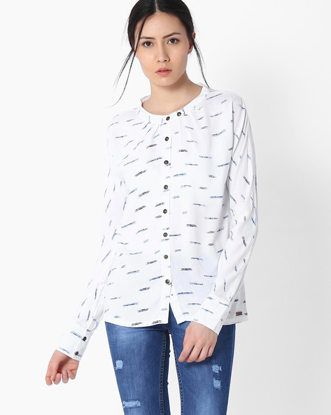 Printed Shirt With Full Sleeves By DNMX ( Offwhite )