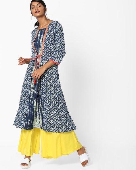 Printed Flared Kurta With Tie-Up By Shakumbhari ( Blue )