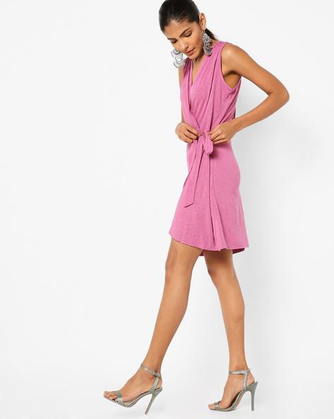 Knitted Sleeveless Wrap Dress By AJIO ( Fuchsia )