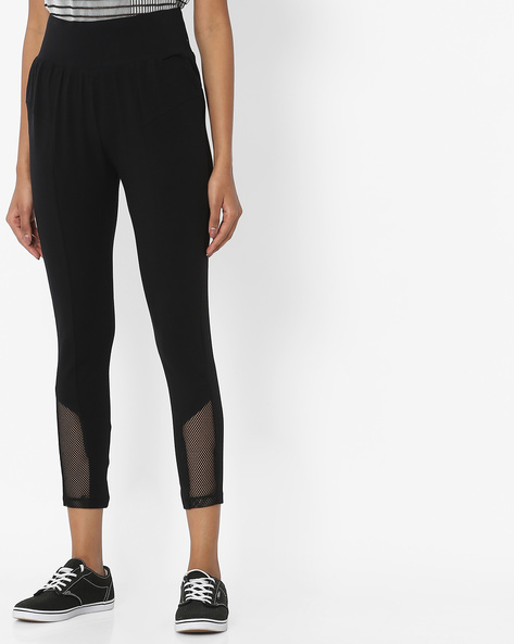 High-Rise Tights With Mesh Inserts By Teamspirit ( Black )
