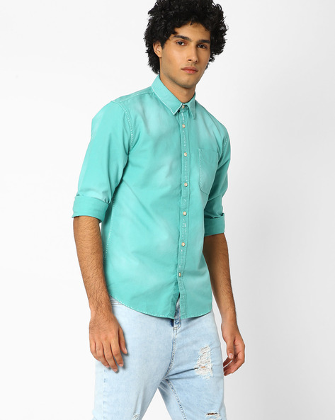 Slim Fit Shirt With Patch Pocket By Jack & Jones ( Green )
