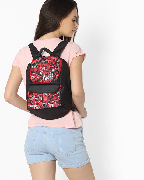 Backpack Purse With Adjustable Straps By Wildcraft ( Red )