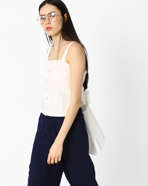 Strappy Top With Bow Detail By AJIO ( White )