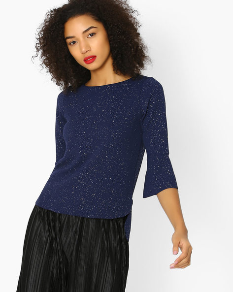 Knitted Top With Flared Sleeves By CODE By Lifestyle ( Navy )