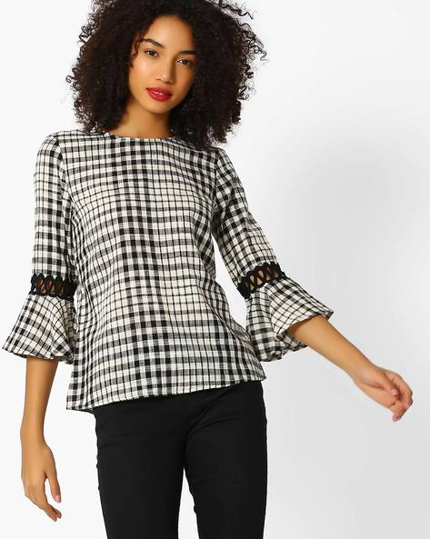 Checked Top With Cut-Out Bell Sleeves By Femella ( Black )