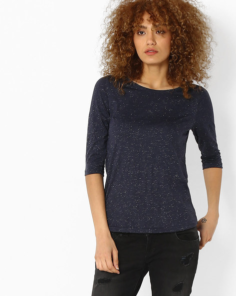 Cotton Top With Slub Effect By Fame Forever By Lifestyle ( Navy )