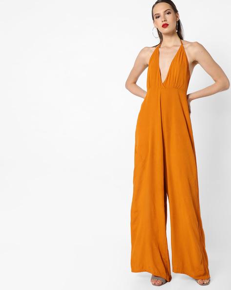 Halter Tie-Up Jumpsuit By INFLUENCE ( Orange )