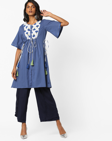 Floral Print Flared Kurta With Tie-Ups By AJIO ( Blue )