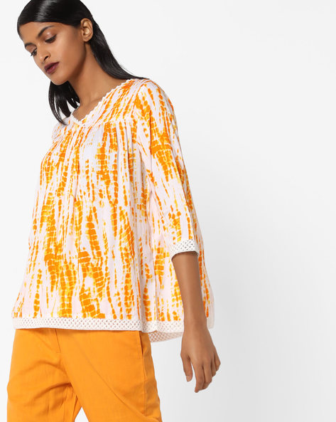 Printed Top With Lace-Insets By AJIO ( Yellow )