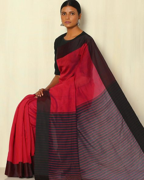 Bengal Handwoven Pure Silk And Handspun Cotton Saree By Indie Picks ( Maroon )