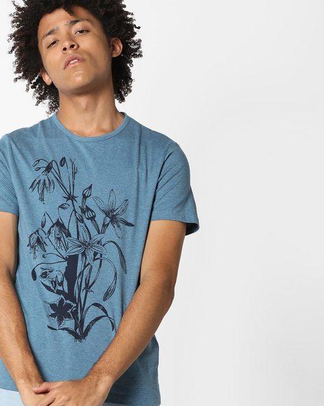 Floral Print Crew-Neck T-shirt By AJIO ( Blue )
