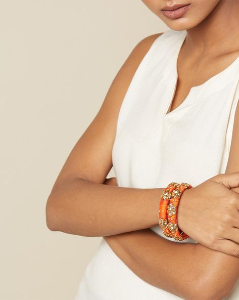 Pure Silk Hand-Embroidered Zardosi Bangle Set By PADMAHASTHA ( Orange )