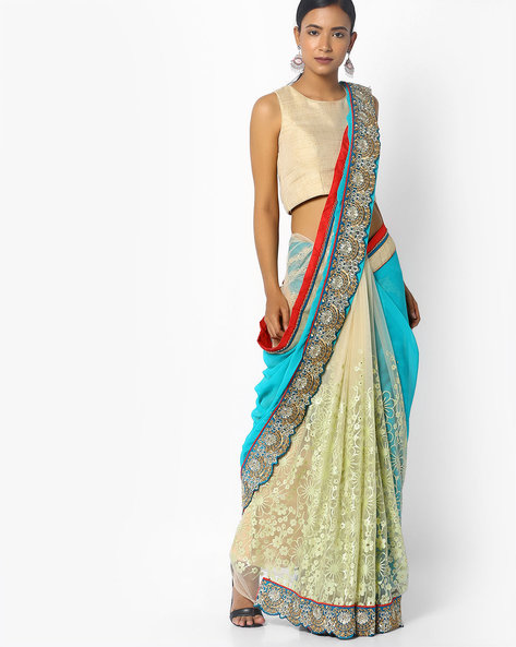 Embroidered Saree With Scalloped Border By Florence ( Blue )