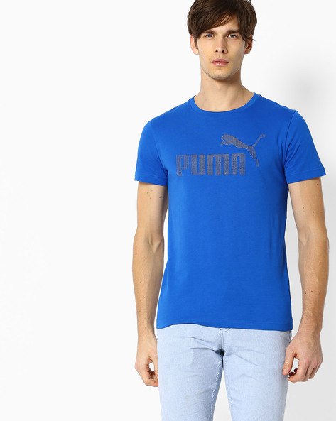 Crew-Neck Slim Fit T-shirt By Puma ( Blue )