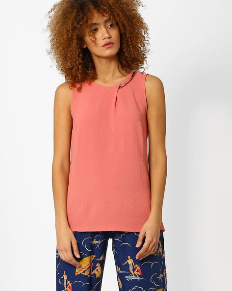 Sleeveless Top With Metal Detail By Annabelle By Pantaloons ( Peach )