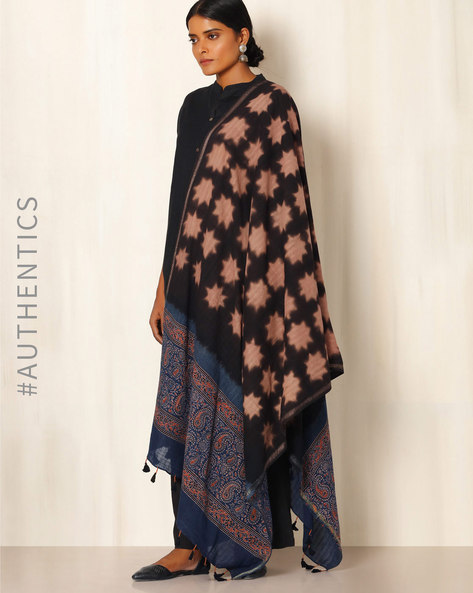 Ajrak Handblock Print Shibori Cotton Dupatta By Indie Picks ( Black )