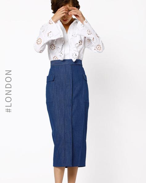 Denim Midi Pencil Skirt By Closet London ( Navy )