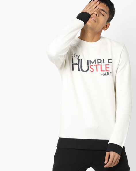 Crew-Neck Sweatshirt With Contrast Hems By UNITED COLORS OF BENETTON ( White )