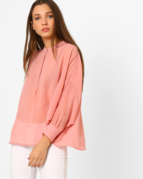 Swing Shirt With Band Collar By CHM ( Pink )