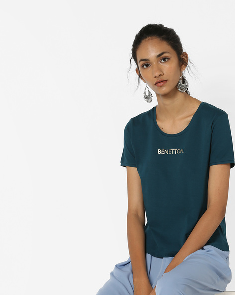 Crew-Neck T-shirt With Branding By UNITED COLORS OF BENETTON ( Blue )