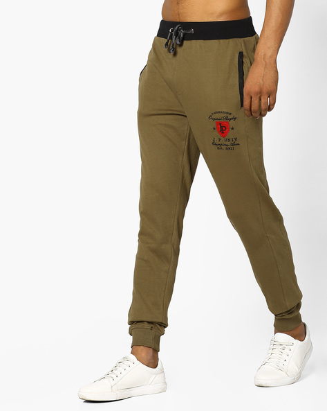 Slim Fit Joggers With Contrast Waistband By JOHN PLAYERS ( Olive )