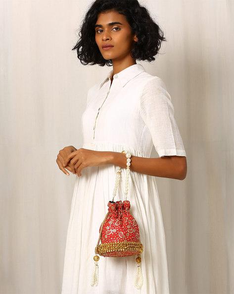 Pure Raw Silk Potli Bag By Molcha ( Red )