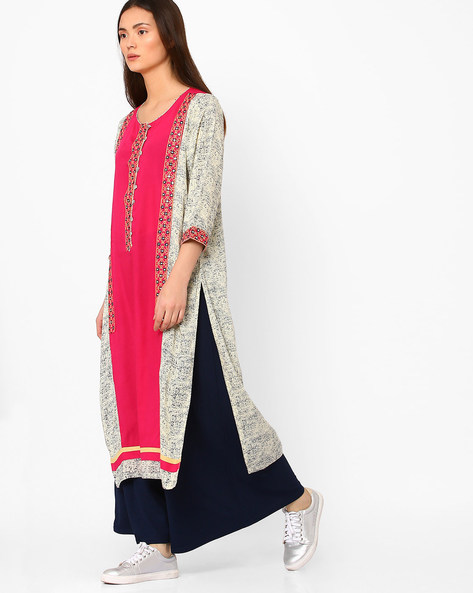 Printed Straight Kurta With Mirror Accents By Kifahari ( Cream )