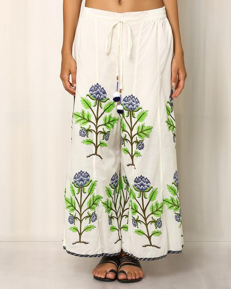 Handblock Print Cotton Palazzo Pants By Pink Lemon ( White )