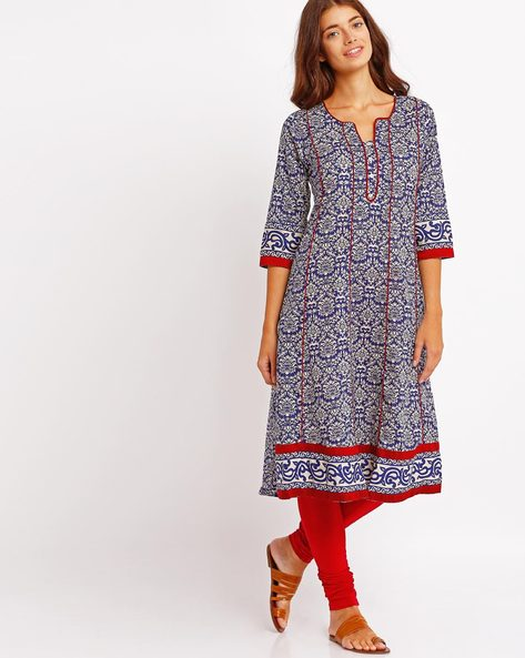 Floral Print Kurta With Contrast Piping By AVAASA MIX N' MATCH ( Blue )