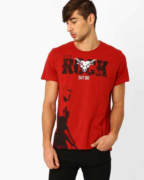 The Rock Crew-Neck T-shirt By Free Authority ( Red )