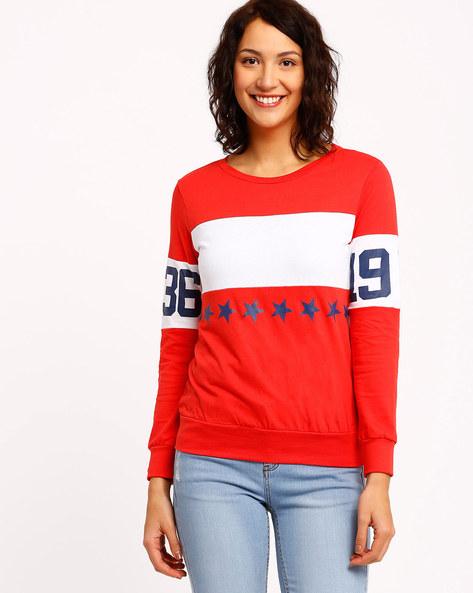 Graphic Print Sweatshirt By TEAM SPIRIT ( Red )