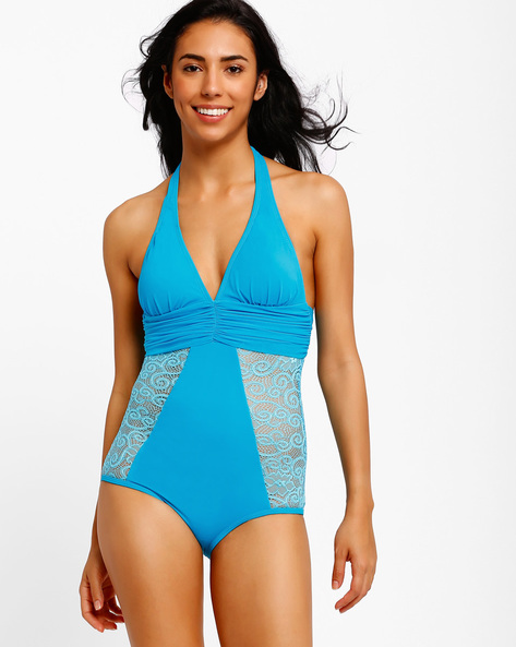 Swimsuit With Lace Panels By PrettySecrets ( Blue )